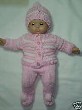 """Hand knit 5 Piece Outfit for Bitty Baby or any 15"""" doll"""