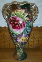 Old Satsuma Vase - Floral Decoration - Dragon Handles