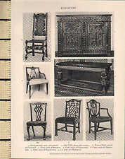 1927 PRINT ~ FURNITURE ~ OAK CUPBOARD SHERATON HEPPLEWHITE WALNUT CHAIR