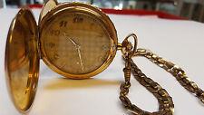 Orologio da tasca placcato oro carica manuale con catena per doppia circa