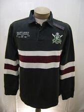 Polo Ralph Lauren L Mens Crest Black White Slim Rugby Stripe Shirt Twill Sweater