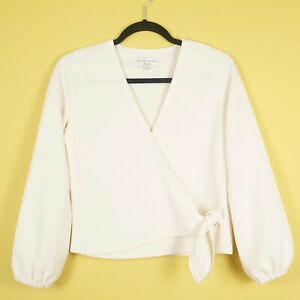 Madewell wrap top cream long sleeves textures size 6-8 XS
