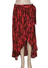 Free People Tie Dye Printed Ruffle Wrap Midi Tie Knot Banded Waist Skirt New M