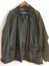WOMENS UNISEX VINTAGE BARBOUR JACKET GREEN CORD COLLAR A100 BEDALE C44 112CM