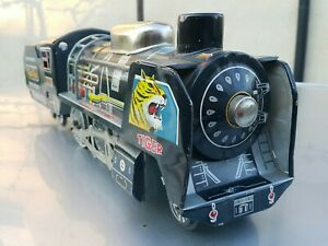 "VINTAGE TIGER TRAIN LOCOMOTIVE 7630 FRICTION DRIVE JAPAN CHINA TOY 19""x4"" WORKS"