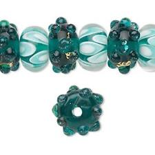 8466 Glass Lampwork Bead Rondelle Floral Pink Approx 14mm PK10  *UK  SHOP*