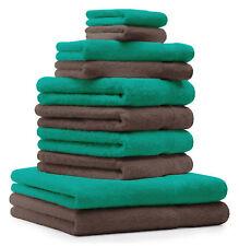 10-tlg. Handtuch Set Classic - Premium, Farbe: Smaragd-Grün & Nuss, 2 Seiftücher