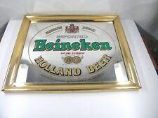 mVintage Heineken Mirror, brass framed.