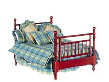 Dolls House Tiana Mahogany Double Bed & Country Bedding Bedroom Furniture