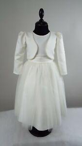 Ivory Satin Bolero Jacket, Flower Girl, Christening, Wedding, Formal Occasion