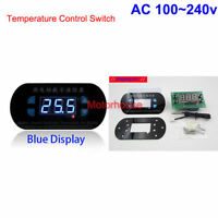 AC 110v 220V Digital Thermostat Temperature Alarm Controller Sensor Meter Blue