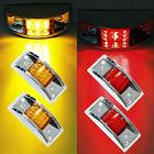 4x Amberred 12 Led Sealed Chrome Side Marker Truck Trailer Clearance Light