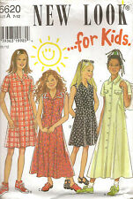 New Look Sewing Pattern For Kids 6620 Girl's Button Down Dress Size 7-12 Uncut
