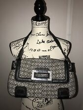 GUESS Logo Purse Handbag Shoulder bag Grey with Black Leather Rhinestone Accents