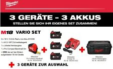 MILWAUKEE 18V M18 VARIO SET 3 Akkus + 3 Geräte Ihrer Wahl + Jobsite Box +Bandmaß
