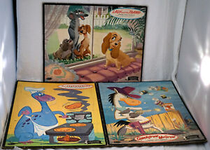 3 Frame Tray Puzzles Lady & The Tramp Quickdraw McGraw The Flintstones ~ Dino
