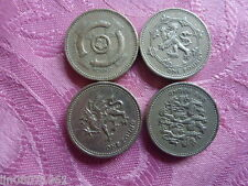 4 BRITISH £1 COINS.3 LIONS, CELTIC CROSS, DRAGON, LION RAMPANT.( SET OF 4 )