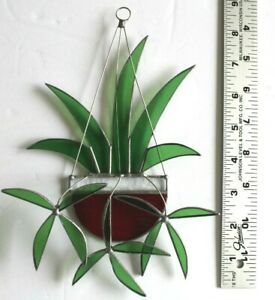 Stained Glass SunCatcher Handmade Spider Plant/Ruby Basket Excellent Condition