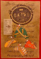 Hand Painted Old Stamp Paper Miniature Painting India Tradition Art Mughal Mogul