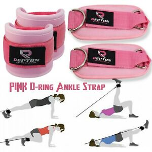 Pink Ankle Straps Gym Leg Cable Pulley Attachment Multi Weight Lifting D Ring