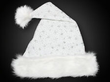 Gorro de Navidad, tejido terciopelo, estrellas brillo, Borde piel blanco