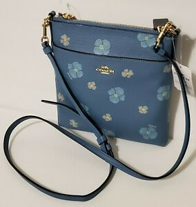 COACH KITT PANSY Print MINI  Messenger Crossbody Handbag Pacific Blue Multi