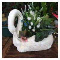 Animal pot Cement Silicone Mould 3D Swan flowerpot Planter Molds for Concrete