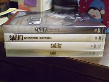 (4) Saw Horror DVD Lot: Saw I II II & IV   Unrated w/Slipcovers