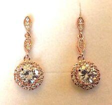 D16 Rose gold filled sim diamond drop dangle stud earrings Plum UK GIFT BOXED