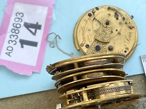 Watchmakers lot Fusee pocket watch movements with chains Parts only Fusee chains