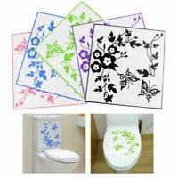 Home Toilet Seat Sticker Butterfly Flower Bathroom Waterproof Wall Sticker Decal