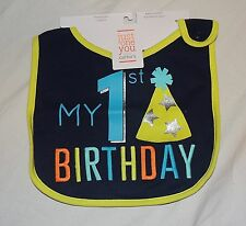 New Carters Baby My 1st Birthday Bib First Boy Happy Birthday