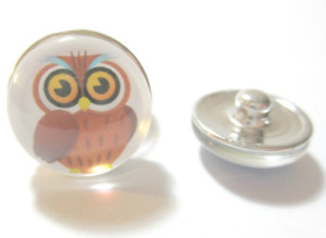 Click System Druckknopf Schmuckgestaltung Metall Eule braun 18 mm
