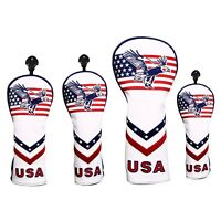 USA Flag with Eagle Pattern Golf Head Cover for Driver Fairway Wood Hybrid Cover