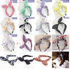 New Wide Ribbon Bowknot Headband Hairband Wire Bendy Bow Rabbit Bunny Ear