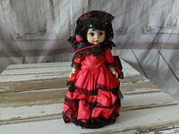 Vintage Madame Alexander SPANISH GIRL Doll Traditional Red Dress 7″ w/ Stand 795