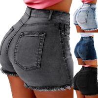 Women High Waist Denim Casual Distressed Tassel Summer Jeans Hot Shorts Pants