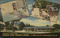 Berea OH Bonnie View Tourist Lodge & Pottery Shop LINEN Postcard