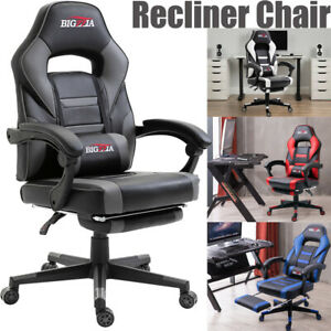 Home Office Gaming Chair Racing Sport Computer Desk Executive Recline Footstool