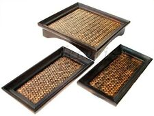 Set 3 Unique Oriental Vintage Bamboo Wooden Serving Tray Handmade 10x10 & 5x10