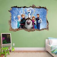 Frozen 3D Hole In Wall Wall Sticker Decal Mural Disney Anna Elsa Olaf H167