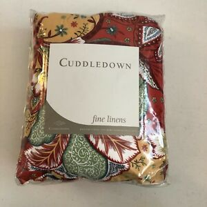 Cuddledown Madison Sateen Bed Skirt Queen Red Multicolored Cotton Made in Italy