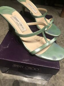 Jimmy Choo Mimi Kitten Heels/mules 90s Styling Mint Green 37/4 On Trend