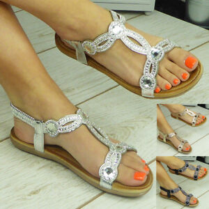 Ladies Sandals Shoes Elastic Strappy Summer Open Toes Comfy Bling Womens Sizes