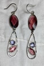 "Silpada ""Regalia"" Sterling Silver Pink Purple Glass Drop Earrings W2776 EC!!!"