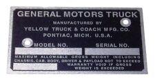 1939 1940 1941 1942 1943 Identification Door Post Plate GMC Pickup Truck