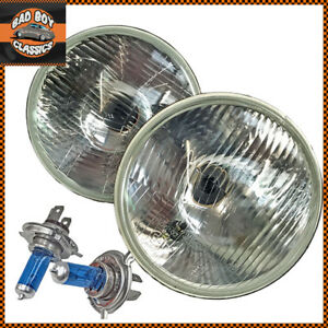 "Pair 7"" Flat H4 Classic Car Halogen Headlights Headlamp + Sidelight Pilot"