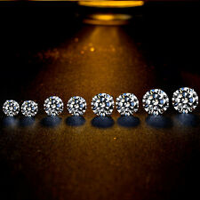 3/4/5/6MM Round Cubic Zirconia Ear Studs Earrings Women's 925 Sterling Silver