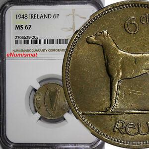 Ireland Republic 1948 6 Pence NGC MS62 Toned  Irish Harp / Wolfhound KM# 13a