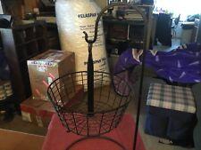 Hanging Round Black Metal Basket w / stand